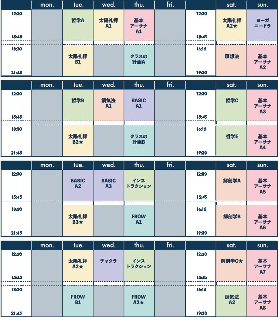 1ヶ月のスケジュール